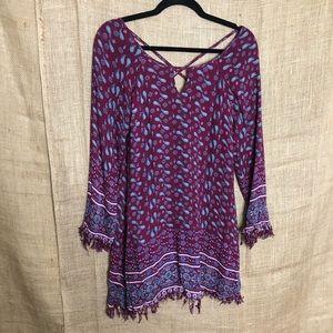 Altard State Purple Dress S Long Sleeve Raw Hem